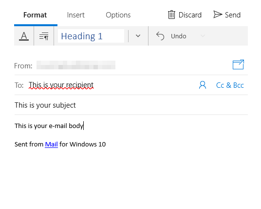 Mail app with new mail open