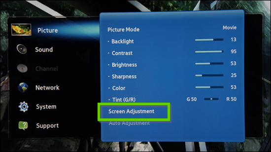 Samsung picture menu showing screen adjustment selected
