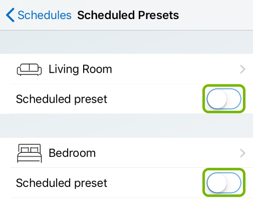 Toggle buttons highlighted in Scheduled Presets of WiZ app.