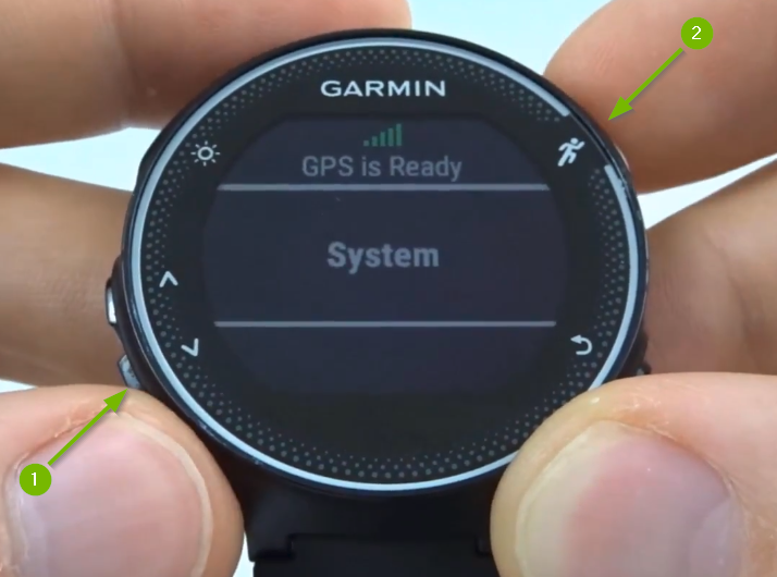 Garmin Forerunner with System selected on screen.