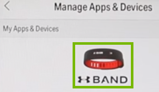 Manage apps and devices screen with tracker highlighted