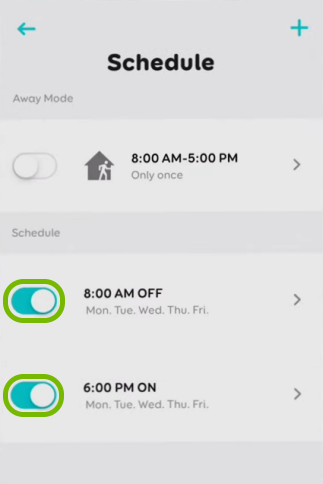 Toggle switch highlighted for created schedules for selected bulb in EufyHome app.
