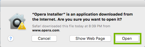 Download confirmation with Open highlighted. Screenshot