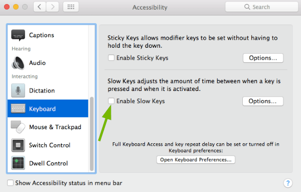 Enable Slow Keys toggle box pointed out in Accessibility Preferences in macOS.