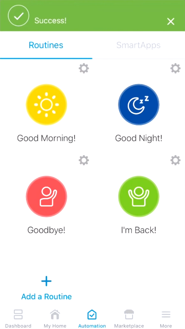 Success message showing up after customizing a routine in SmartThings app.