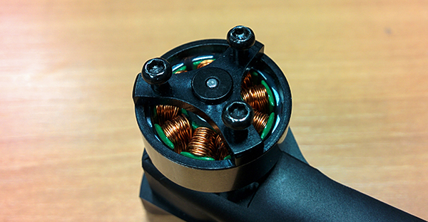 Drone motor with propeller removed.