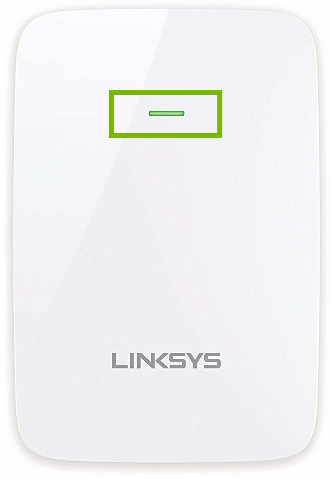 Linksys RE6350 extender with indicator light highlighted
