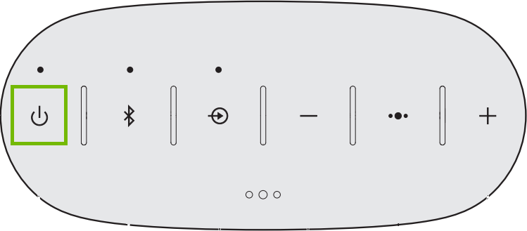Diagram of top of speaker with power button highlighted