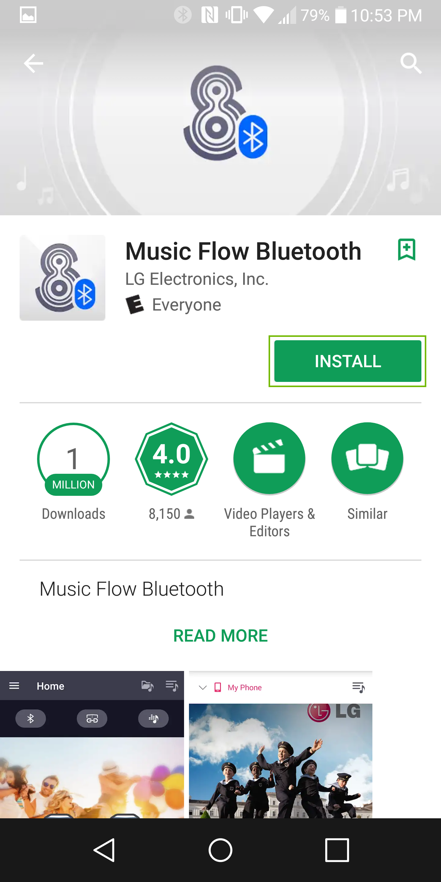 Screenshot of music flow bluetooth app install screen with install highlighted