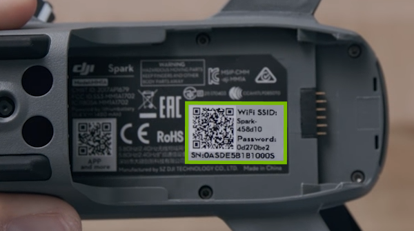 Sticker highlighted inside drone's battery compartment.