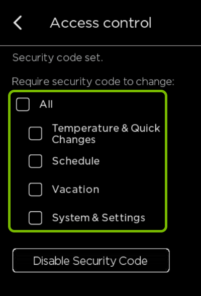 Access Control items highlighted in ecobee settings.