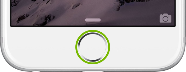 Home button highlighted on iOS device.
