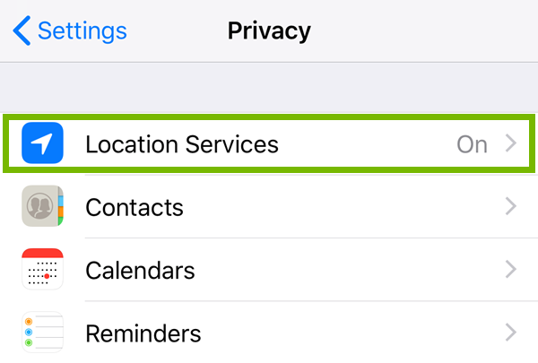 Privacy menu highlighting the location services option.