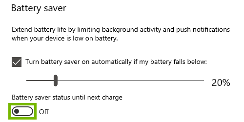 Turn on battery saver toggle