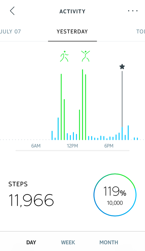 Activity data showing in Health Mate app.