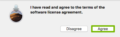 Licence Agreement prompt with Agree highlighted.