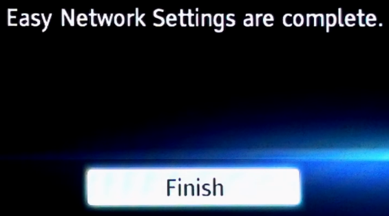 Easy Network Setup completion screen