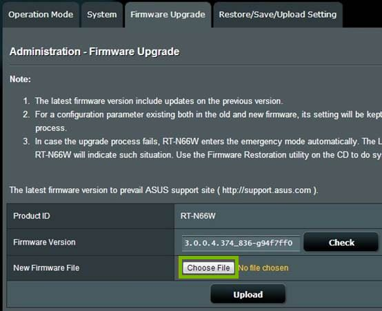 Firmware Upgrade tab with Choose File button selected. Screenshot.