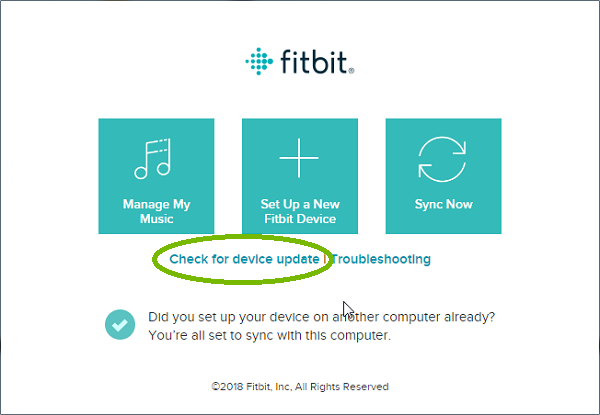 Fitbit Connect App with Check for device update highlighted. Screenshot