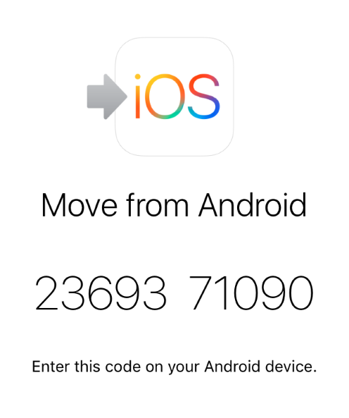 Move from Android option showing 12-digit code.