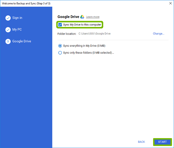 Google Drive Setup with Sync My Drive and Start button highlighted.