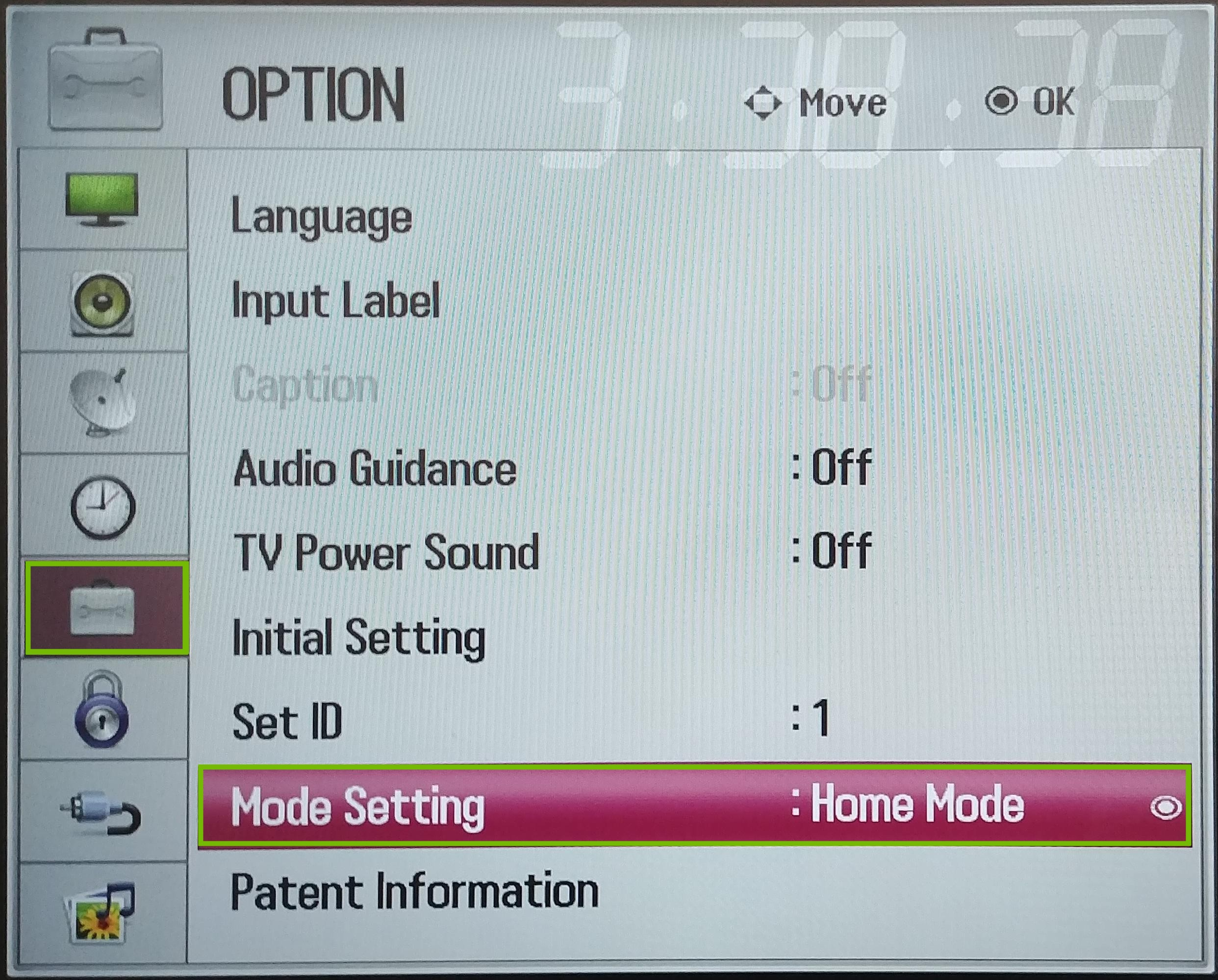 Settings Options, with Mode Setting highlighted.