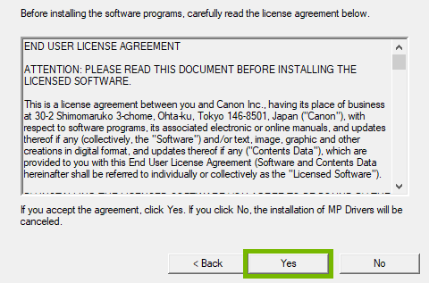 License agreement with Yes highlighted