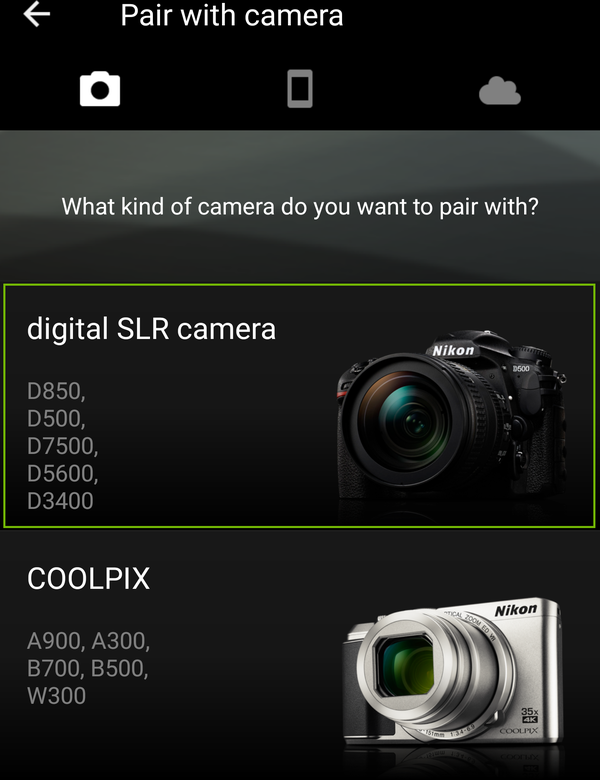 Camera select with digital SLR camera highlighted.