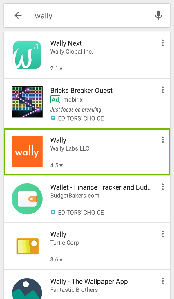 Wally app highlighted