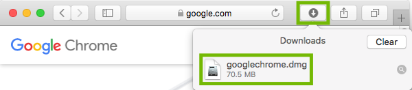 Safari Downloads with googlechrome.dmg highlighted.