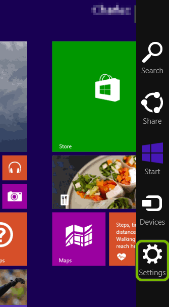 Settings option highlighted in Charms bar of Windows 8.