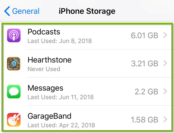 Storage with apps highlighted.