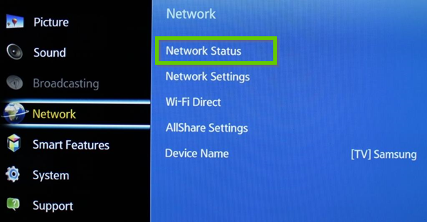 Samsung network menu showing network status selected