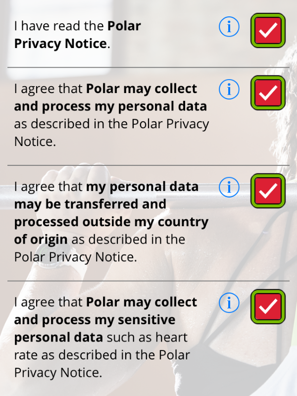Checkmarks highlighted on Privacy Notice screen of Polar Flow app.
