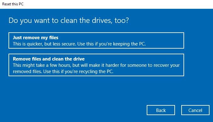 Drive cleaning options.