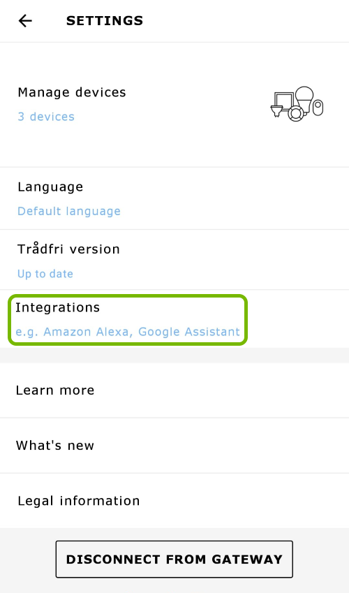 Integrations option highlighted in app settings.