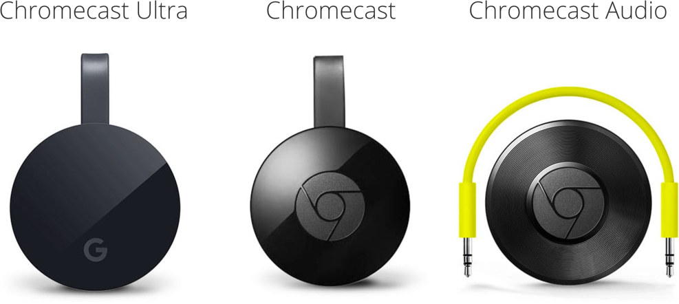 Chromecast lineup: Chromecast Ultra, Chromecast, and Chromecast Audio.