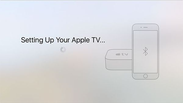 Apple TV being set up.