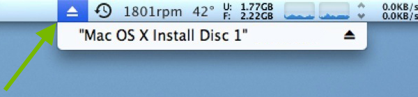 Eject symbol pointed out in the macOS menu bar.