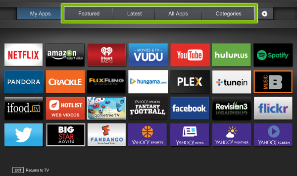 Featured, Latest, All Apps and Categories tabs highlighted on Fullscreen VIA Plus Apps Window on VIZIO Smart TV.