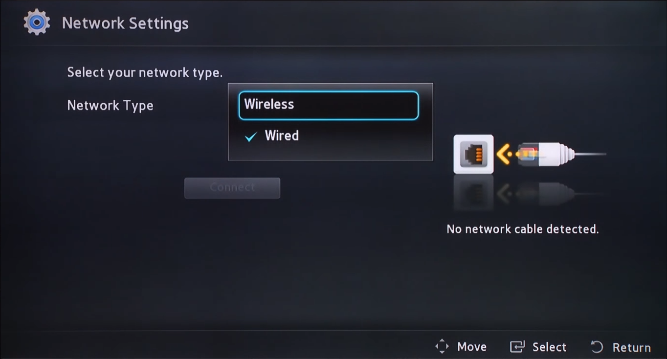 Blu-ray network setup method selection screen with option highlighted