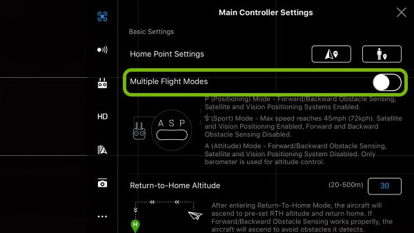 Multiple Flight Modes option highlighted in DJI GO 4 app settings.