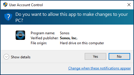 User Account Control pop-up on Windows