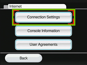 internet menu with connection settings highlighted