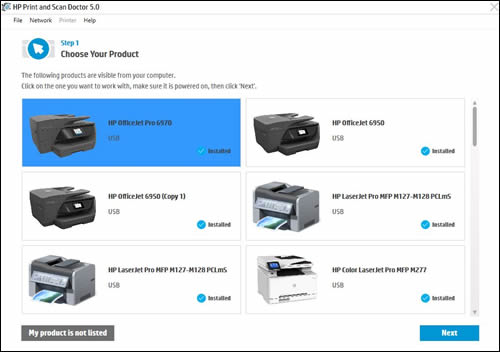 HP installer with list of printers. Screenshot.
