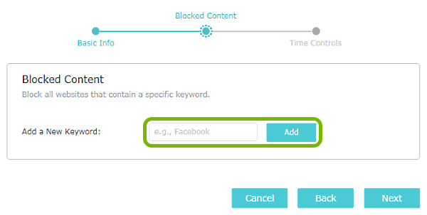 Keyword entry field and Add button highlighted on Parental Controls screen of TP-Link router web interface.
