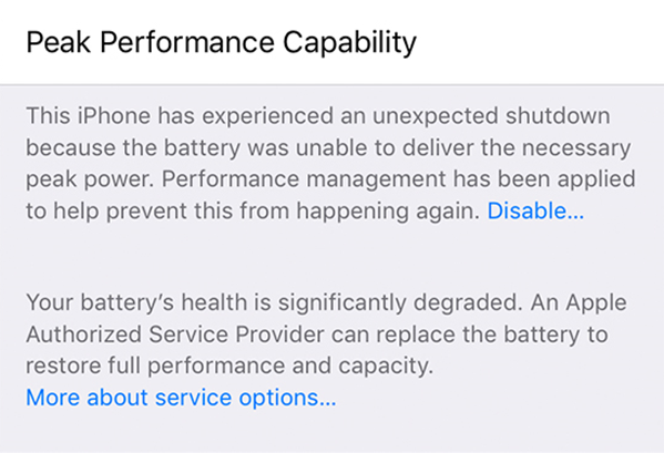 Battery health significantly degraded.
