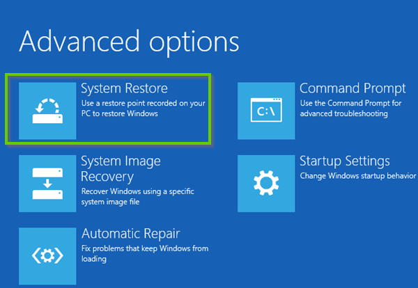 Windows 10 advanced options showing system restore selected