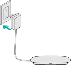 Harmony hub being connected to a power source. Illustration.