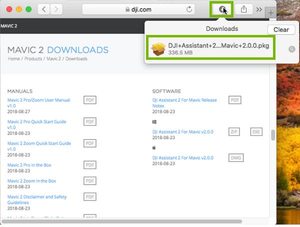 Safari downloads button with DJI assistant highlighted. Screenshot
